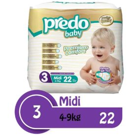 Buy Predo Baby Midi Eco 4-9kg, Size 3, 22 Pieces online with Free Shipping at Baby Amore India, Babyamore.in