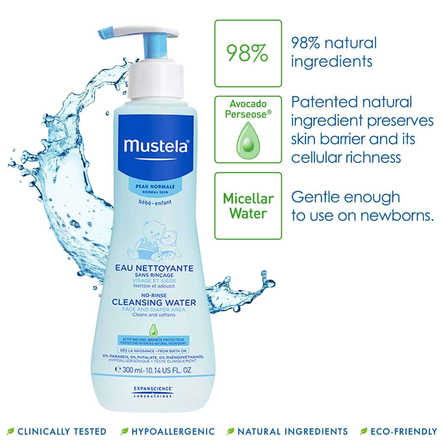 Mustela No Rinse Cleansing Water With Natural Avocado