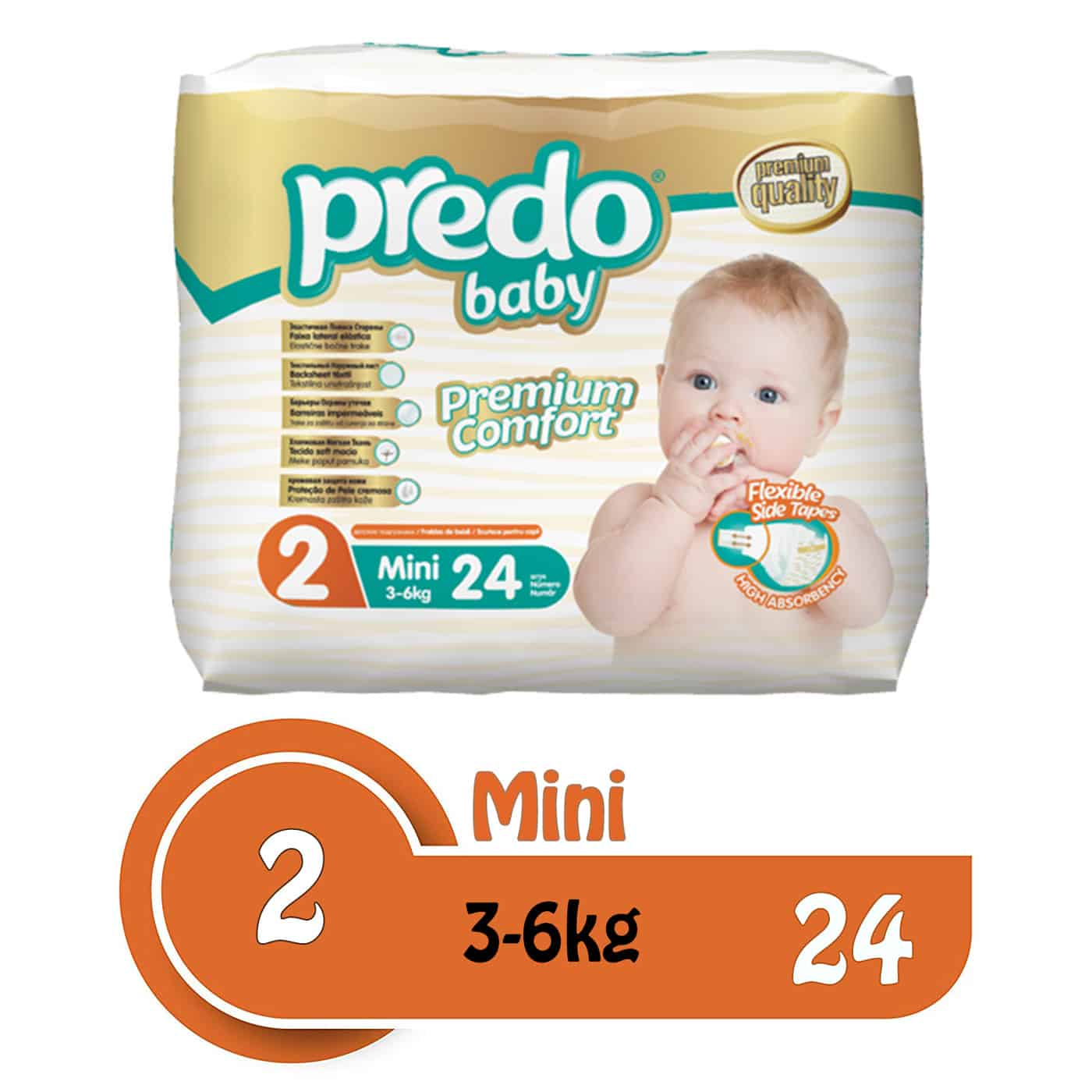 Buy Predo Baby Mini Eco 3-6kg, Size 2, 24 pieces online with Free Shipping at Baby Amore India, Babyamore.in