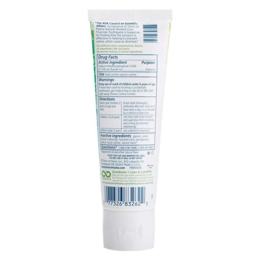 Buy Tom's of Maine, Wicked Cool Mild Mint, Anti-Cavity Fluoride Toothpaste, 119g online with Free Shipping at Baby Amore India, Babyamore.in