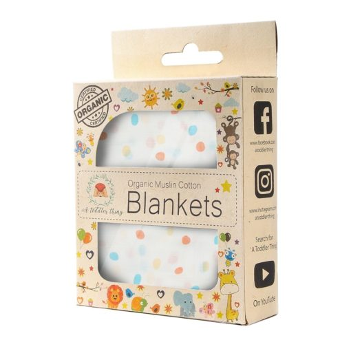 Buy Organic Muslin Cotton Blanket - Pastel Spots online with Free Shipping at Baby Amore India, Babyamore.in