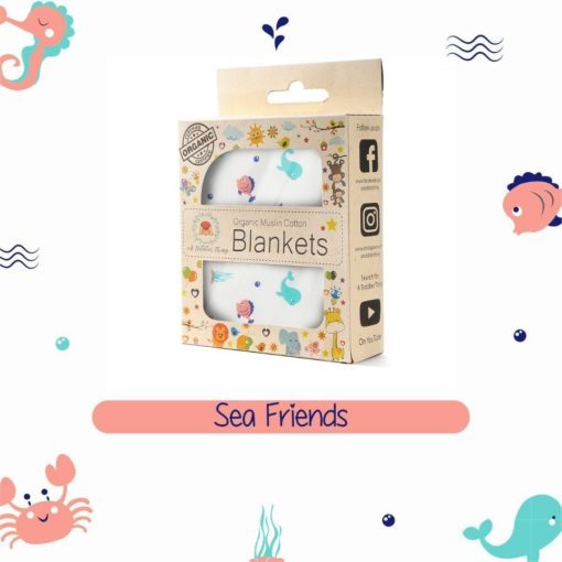 Buy Organic Muslin Cotton Blanket - Sea Friends online with Free Shipping at Baby Amore India, Babyamore.in
