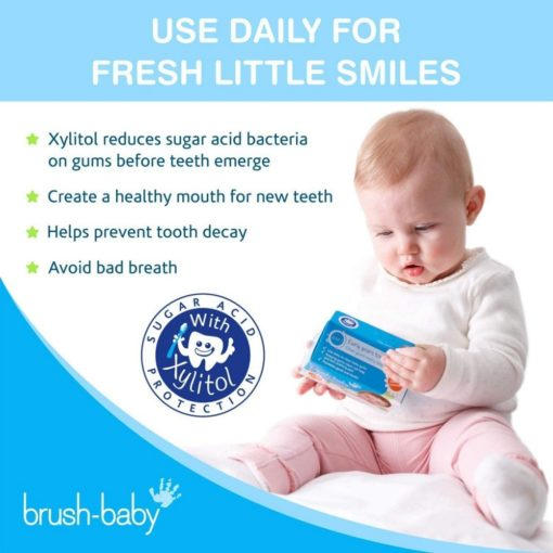 Buy Brush-Baby Dental Wipes, 0-16 months, Single Box of 28 Sachets - White online with Free Shipping at Baby Amore India, Babyamore.in