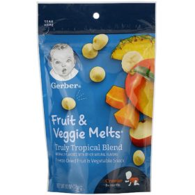 Buy Gerber Fruit & Veggie Melts, Truly Tropical Blend, 8+ Months - 28g online with Free Shipping at Baby Amore India, Babyamore.in