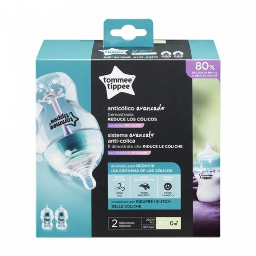 Buy Tommee Tippee Advanced Comfort Bottles 260ml × 2 - Blue online with Free Shipping at Baby Amore India, Babyamore.in
