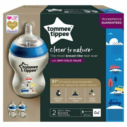 Buy Tommee Tippee Closer To Nature Bottles with Anti-Colic Valve, 260ml × 2 online with Free Shipping at Baby Amore India, Babyamore.in