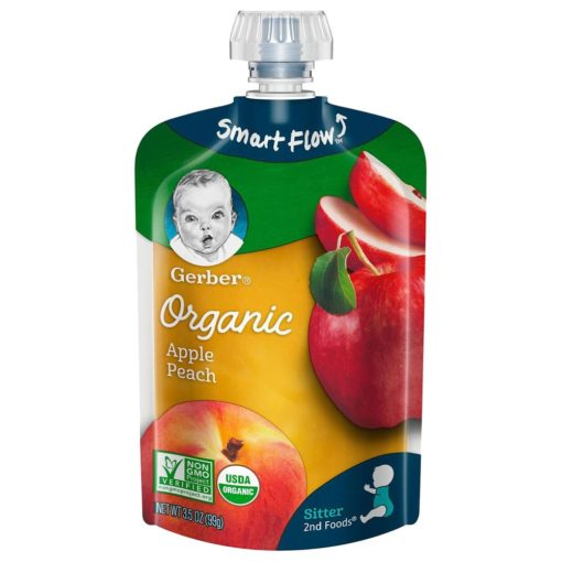 Buy Gerber Smart Flow Organic Apple Peach - 99g online with Free Shipping at Baby Amore India, Babyamore.in