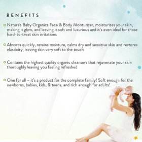 Buy Nature's Baby Organic Face & Body Moisturizer Fragrance Free 8oz/236.5ml online with Free Shipping at Baby Amore India, Babyamore.in