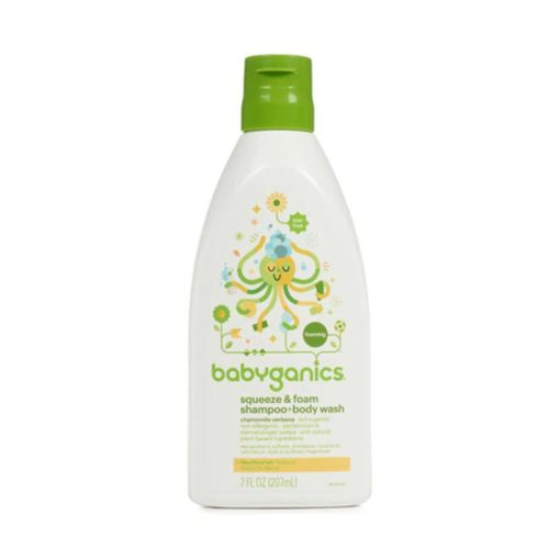 Buy Babyganics, Squeeze & Foam, Shampoo + Body Wash, Chamomile Verbena, 7 fl.oz online with Free Shipping at Baby Amore India, Babyamore.in