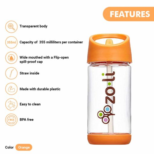 Buy ZoLi Squeak Straw Water Bottle Sipper with Straw – Spill Proof Water Bottle for Kids - Orange, 12 Ounce online with Free Shipping at Baby Amore India, Babyamore.in