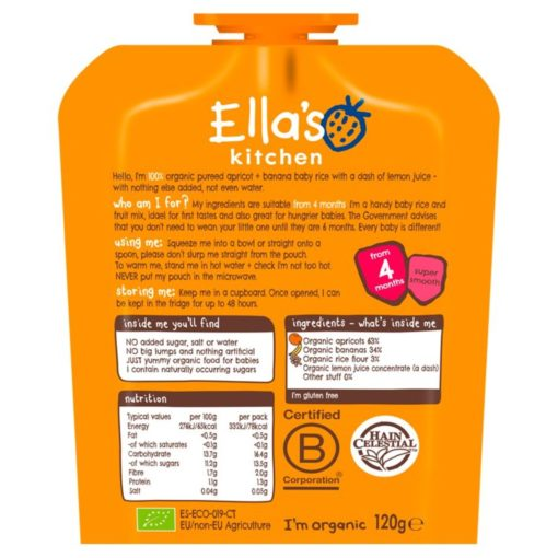 Buy Ella's Kitchen Apricot + Banana Baby Rice,  4m+, 120g online with Free Shipping at Baby Amore India, Babyamore.in