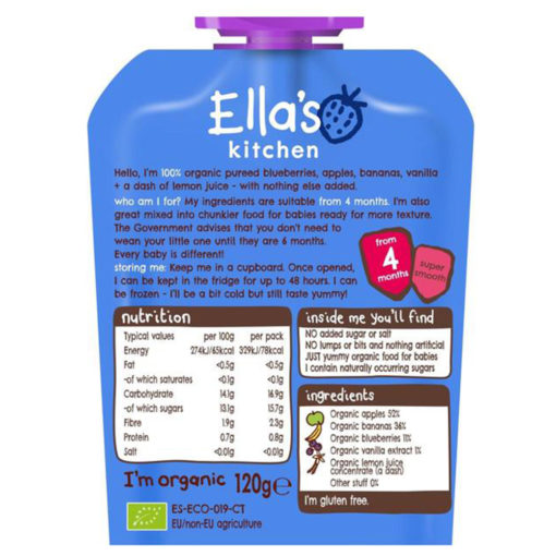 Buy Ella's Kitchen Blueberries Apple + Banana, 4m+, 120g online with Free Shipping at Baby Amore India, Babyamore.in
