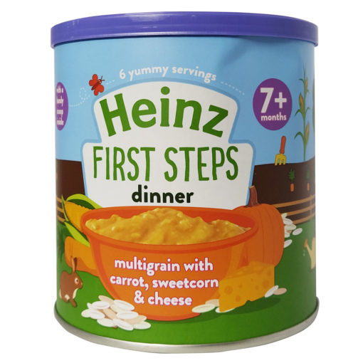 Buy Heinz First Steps Dinner Multigrain Carrot ,Sweetcorn & Cheese, 7m+, 200g online with Free Shipping at Baby Amore India, Babyamore.in