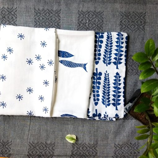 Buy Tiny Lane Super Soft Bamboo Cotton Classic Swaddles, Pack of 3 - Indigo online with Free Shipping at Baby Amore India, Babyamore.in