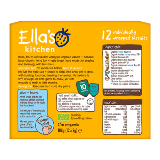 Buy Ella's Kitchen 10 Month Vanilla+Banana Baby Biscuits online with Free Shipping at Baby Amore India, Babyamore.in